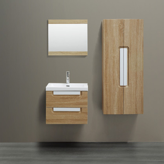 Mueble de baño de pared color madera con 2 cajones y gabinete lateral